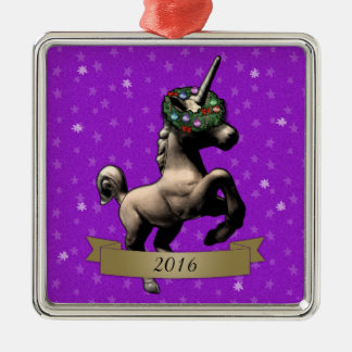 """Holiday Unicorn"" Christmas Ornament w/Year (SqPp)"
