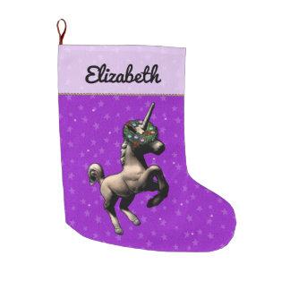 """Holiday Unicorn"" Christmas Stocking (Purple)"