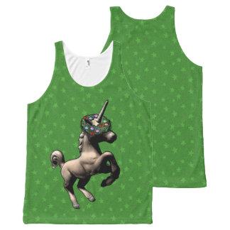 """""""Holiday Unicorn"""" Christmas Tank Top (Green)"""