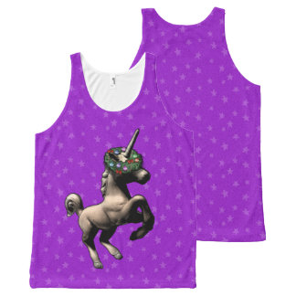 """Holiday Unicorn"" Christmas Tank Top (Purple)"