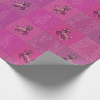 """Holiday Unicorn"" Christmas Wrapping Paper (Pink)"