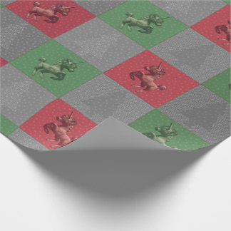 """""""Holiday Unicorn"""" Christmas Wrapping Paper (Rd-Gr)"""