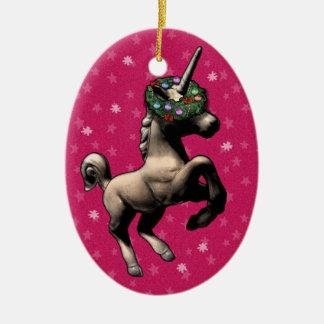 """Holiday Unicorn"" Oval Christmas Ornament (Pink)"