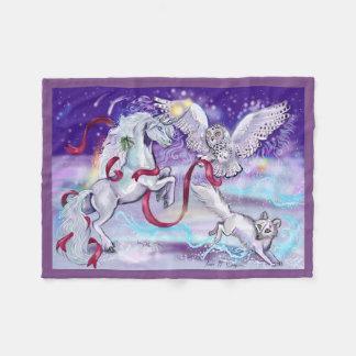 Holiday Unicorn Owl and Fox Fleece Blanket