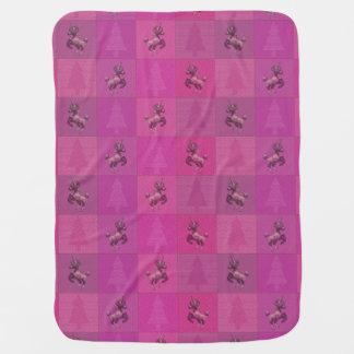 """Holiday Unicorn"" Pattern Baby Blanket (Pink)"