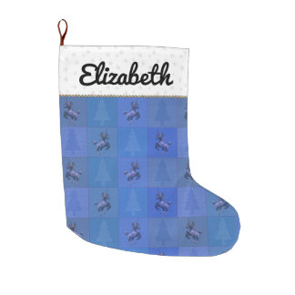"""Holiday Unicorn"" Quilted Christmas Stocking (Blu)"