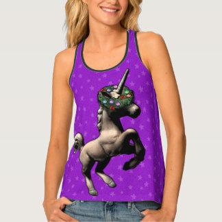 """""""Holiday Unicorn"""" Xmas Racerback Tank Top (Purple)"""