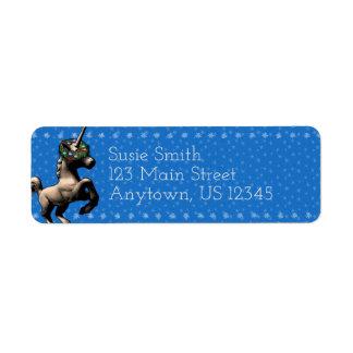 """Holiday Unicorn"" Xmas Return Address Labels (Blu)"