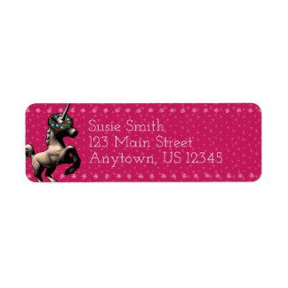 """""""Holiday Unicorn"""" Xmas Return Address Labels (Pnk)"""