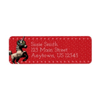 """Holiday Unicorn"" Xmas Return Address Labels (Red)"