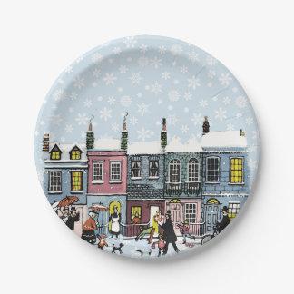 Holiday Village Snowflake Paper Plates