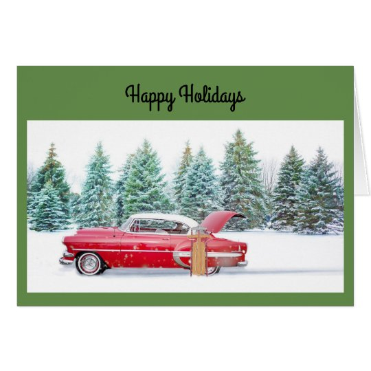 Holiday Vintage Car Greeting Card