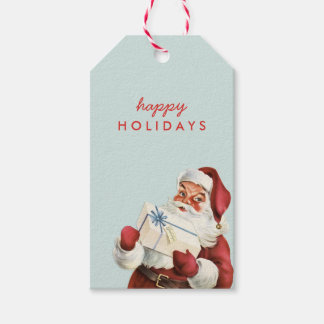 Holiday Vintage Santa Happy Holidays Christmas Gift Tags