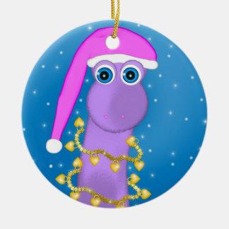 Holiday Violet Dinosaur Christmas Ornament
