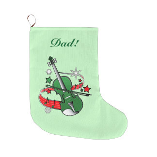 Holiday Violin with Notes and Snowflakes Large Christmas Stocking