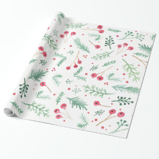 Holiday Watercolor Berries and Foliage Wrapping Paper