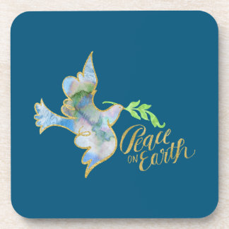 Holiday Watercolor Dove Gold Peace on Earth Drink Coaster