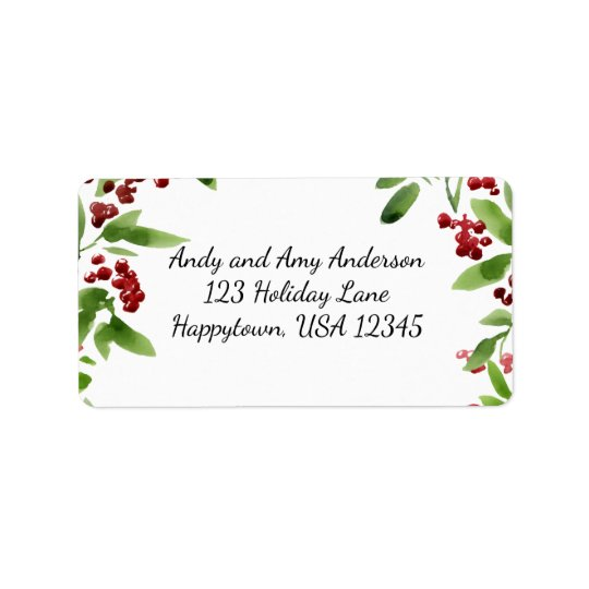 Holiday Watercolor Holly Branches Address Label