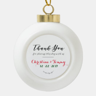 Holiday Wedding Favor Ceramic Ball Christmas Ornament
