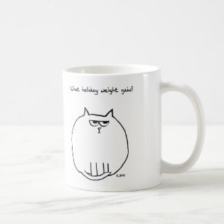 Holiday Weight Gain - Angry Cat is now Fat Cat Basic White Mug