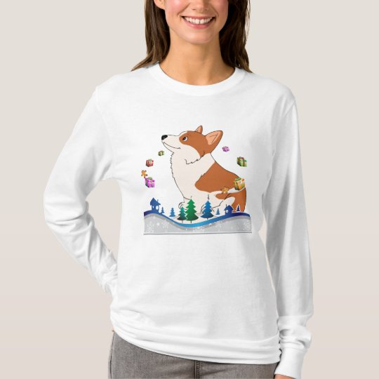 Holiday Welch Corgi with Floating Presents T-Shirt
