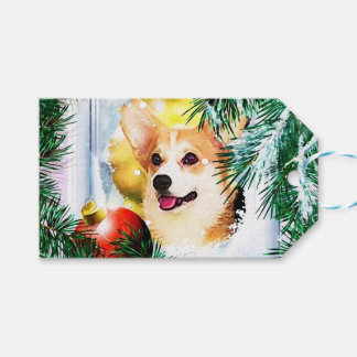 Holiday Welsh Corgi in the Winter Gift Tags
