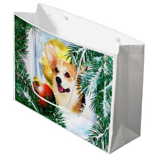 Holiday Welsh Corgi in the Winter Large Gift Bag
