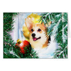 Holiday Welsh Corgi in the Winter Window Card
