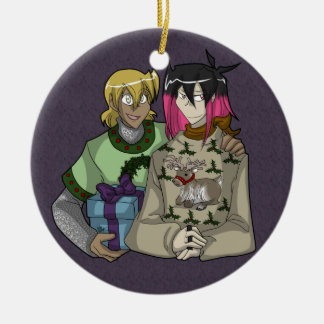 Holiday Wiglaf and Mordred Christmas Ornament