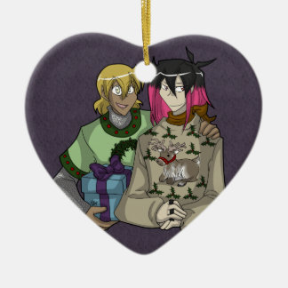 Holiday Wiglaf and Mordred - Heart Christmas Ornament