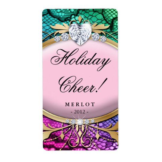 Holiday Wine Label Pretty Lace Pink Jewellery