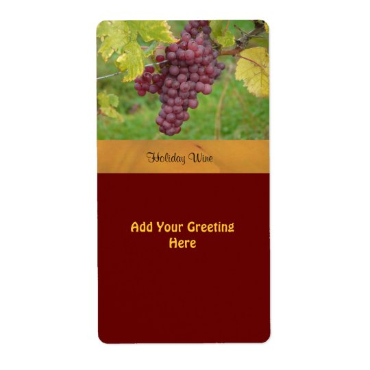 Holiday Wine Label with Red Grapes Shipping Label