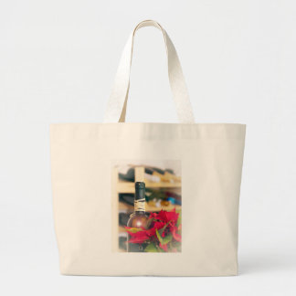 Holiday wine large tote bag