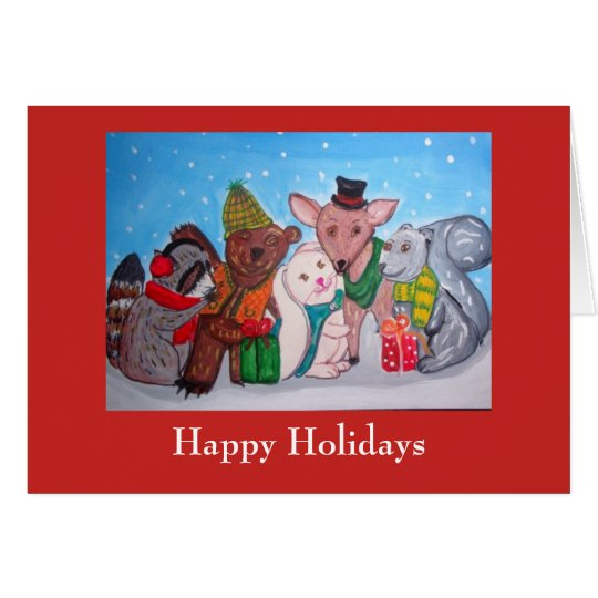 Holiday winter forest friends christmas secular card