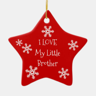 Holiday Winter Snowflake I Love My Brother Sister Christmas Ornament