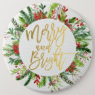 Holiday Wishes Merry and Bright Christmas Greeting 6 Cm Round Badge