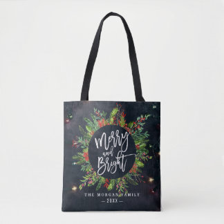 Holiday Wishes Merry and Bright Christmas Greeting Tote Bag