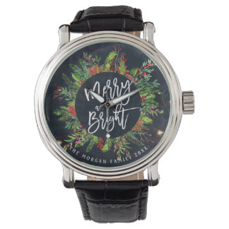Holiday Wishes Merry and Bright Christmas Greeting Watch