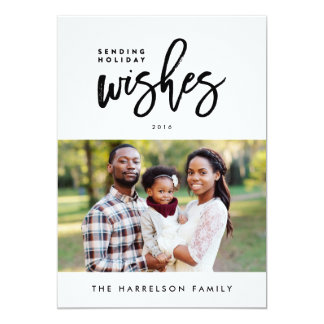 Holiday Wishes Modern Holiday Christmas Photo Card 13 Cm X 18 Cm Invitation Card