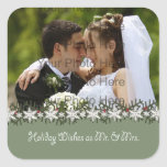 Holiday Wishes Wedding Photograph Square Stickers