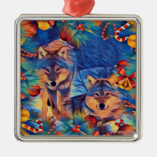 Holiday Wolves Christmas Ornament