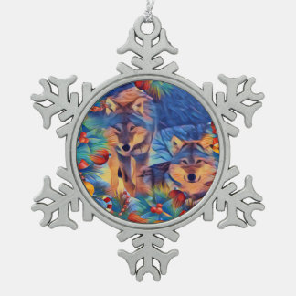Holiday Wolves Snowflake Pewter Christmas Ornament