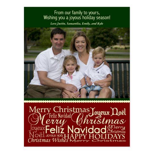 Holiday Words Collage Christmas Photo Postcard
