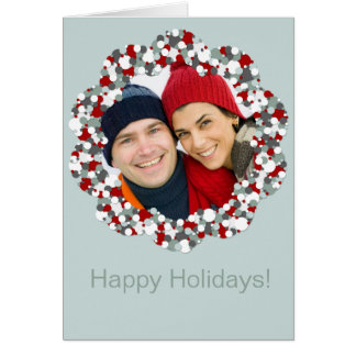 Holiday Wreath Design Photo Template Christmas Greeting Card