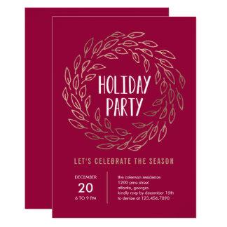 Holiday Wreath EDITABLE COLOR Party Invitation