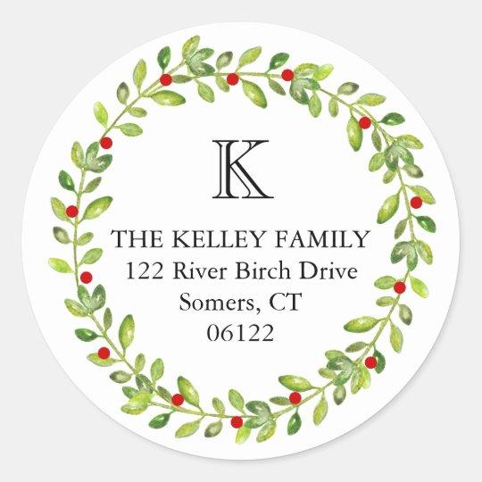 Holiday Wreath Initial Monogram Classic Round Sticker