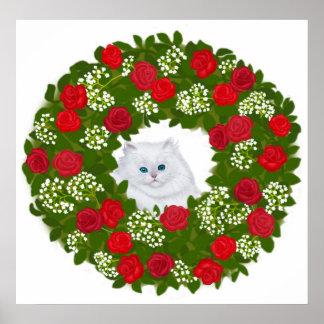 Holiday Wreath Kitten Print