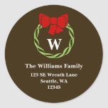 Holiday Wreath Monogram Christmas Address Labels Round Stickers