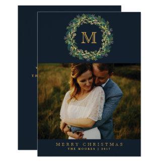 Holiday Wreath Monogram Photo Card