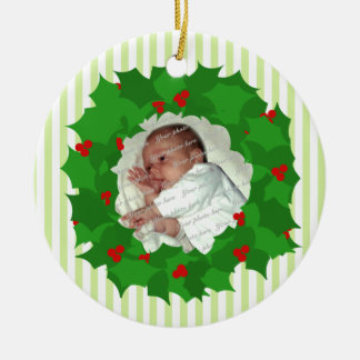 Holiday Wreath Photo Double-Sided Ceramic Round Christmas Ornament